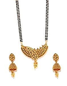 Bindhani Gold-Plated Bead Chain Mangalsutra & Earrings Set for Women