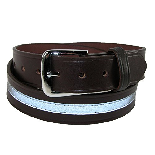 Boston Leather Reflektierender Lederarbeitsgürtel für Männer 42 Braun - Boston Echte Gürtel