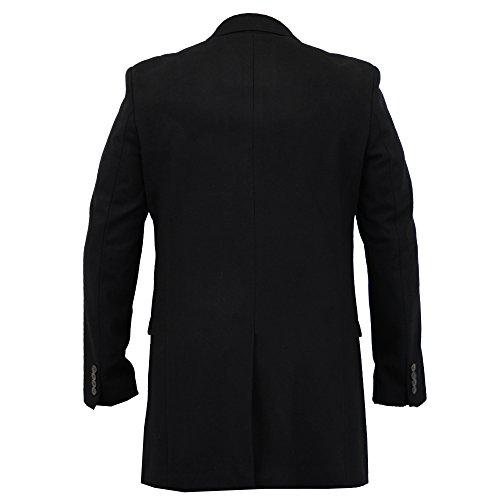 Herren Wollmischung Jacke Cavani Lang Trenchcoat Enge Passform Mantel Gefüttert Winter Neu Schwarz - RÖMISCH