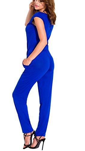 Eleganter Overall (Jumpsuit) in Schwarz, Rot, Beige oder Blau Blau