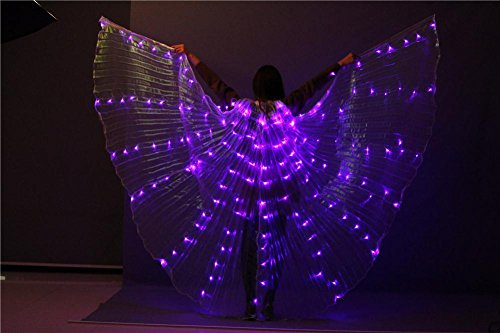 Wgwioo Frauen Led Licht Bauchtanz Mehrfarbig Isis Flügel 360 Grad Große Schmetterling Stützen Performance Professionelle Outfit Kostüm , 3# , - Orange Feder Kostüm Flügel