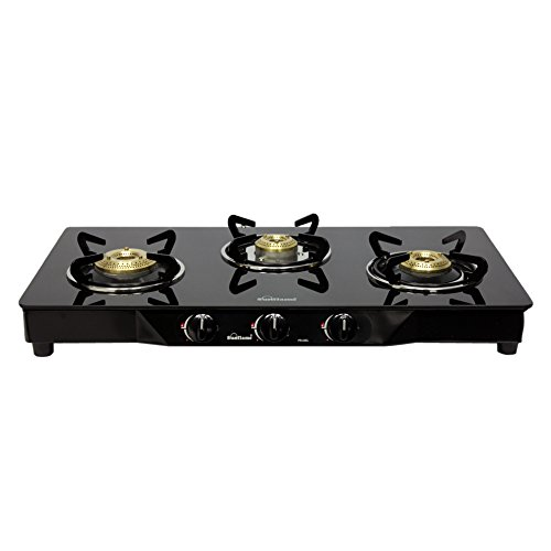 Sunflame Pearl 3 Burner Glass Top Gas Stove (Black)