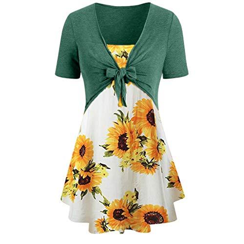 Yvelands Damen T-Shirt Knoten Bandage Top Sonnenblumen Print Weste Shirt Tank Bluse Tunika Anzug(Grün,XXXXXL)