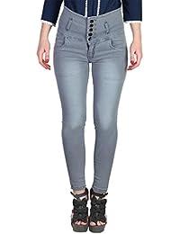 Broadstar Women's Slim Fit Jeans (5BUTTON, Grey, 34)