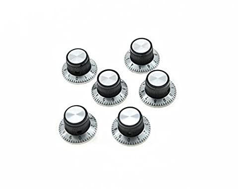 KAISH Pack of 6 Black with Silver Vintage Guitar AMP Amplifier Top Hat Reflector Knobs