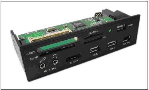 """Multifunktions Frontpanel MP-2 für 5.25"""" Gehäuse-Einschub, ESATA/USB/FW/Audio/CardReader, schwarz"""