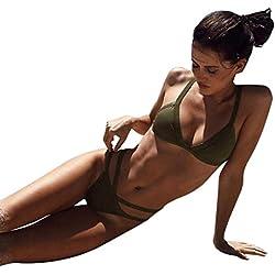 VENMO Ropa Traje de Baño Dos Piezas,Venmo Mujer Sexy Bikini Push-up Bra Bañador de Playa Tankini Mujer 2018 (Ejercito Verde, S)