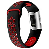 KIMILAR Strap compatible with Fitbit Charge 3 / SE for Women Men, Two-tone Silicone Waterproof Band Sports Straps for Fitbit Charge 3 & Special Edition Fitness Tracker, Black & Red, S
