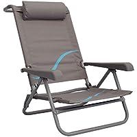 Meerweh Strandstuhl mit Verstellbarer Rückenlehne und Kopfpolster Klappstuhl Anglerstuhl Campingstuhl grau/blau