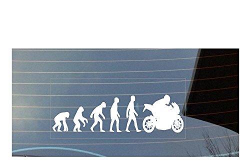 Evolution of Man Motorrad Auto Fenster Aufkleber–weiß (Pfote Drucken Haustier-schüssel)