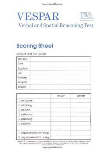 VESPAR Test Scoring Sheets: Packs of 25: Pack of 25 Scoring Sheets