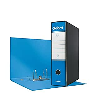 Esselte 390785800 Raccoglitore Oxford con meccanismo a leva e con custodia, Formato Protocollo, Cartone, Dorso 8 cm, Confezione da 6pz, Azzurro