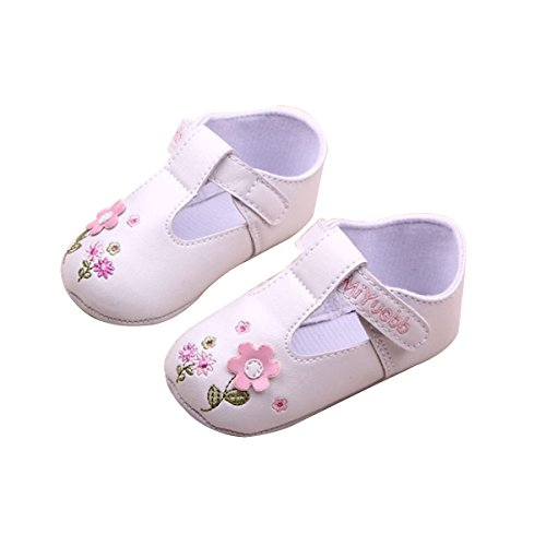 Foxnovo paar Cute Baby Girls Flower Dekor PU Prewalkers Schuhe (weiß), Gr. 12