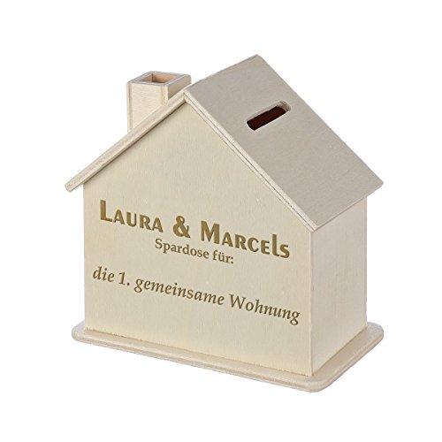 Spardose Haus mit Gravur - Sparbüchse aus Holz - Geschenk für jeden Anlass - Motiv freie Wahl