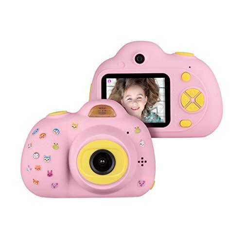 ra Kamera für Kinder D6 Mini Dual Kamera 8 Megapixel mit Aufkleber Fotoapparat Digitalkamera Geschenk Spielzeug für Jungen Mädchen ab 3 Jahren Pink ()