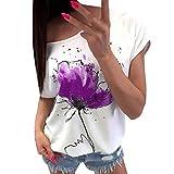 Keepwin Camisetas Cortas Manga Corta Mujer Estampadas Camisetas Anchas Remeras Camisa para Mujer Deporte Verano Poleras Top Blusas De SeñOra T Shirt (Purple, M)