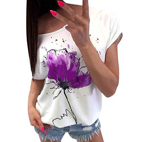 75cfac15895 Lazzboy Donna T-Shirt Maglietta Fiore Stampa Manica Corta Casual Floral  Manica Corta Largo Top