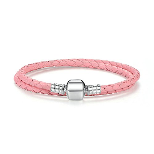LafeeJewels Zweifaches Leder Armband,Rosa,Silber 925 Damen -