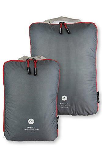 NORDKAMM Packtaschen L mit Kompression, Koffer-Organizer, Packwürfel, Kleidertasche, einzeln od. im Set, Gepäck-Organizer auf Reisen, im Rucksack, Backpack, als Kompressionsbeutel, leicht, mit Haken