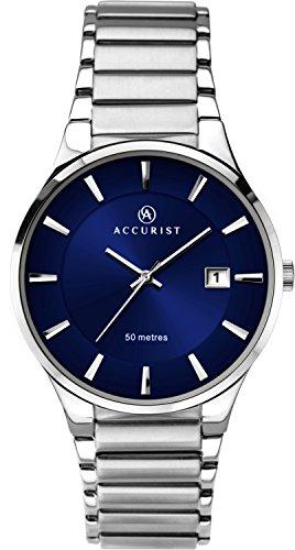 Accurist orologio analogico al quarzo con quadrante blu e argento in acciaio INOX 7217