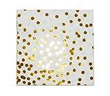 """InviteMe 20 Schicke elegante Papier-Servietten aus der Serie """"Gold Confetti"""" mit Gold Glänzenden Punkten"""