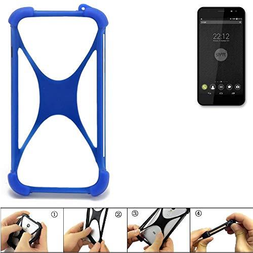 K-S-Trade Handyhülle für Shift Shift4 Silikon Schutz Hülle Cover Case Bumper Silikoncase TPU Softcase Schutzhülle Smartphone Stoßschutz, blau (1x)