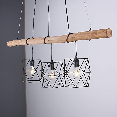 Pendelleuchte 3-flammig höhenverstellbar | Holz Hängelampe aus Echtholz | Leuchte inkl. 3x LED Leuchtmittel warmweiß | Pendellampe Holzbalken-Lampe Vintage-Look