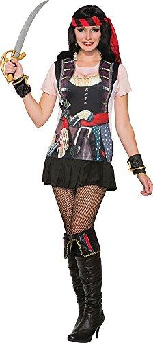 (Damen Dirndel Halloween Kleid Party Kostüm 3d T-shirt Piraten Mädchen Outfit)