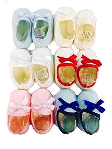 AUCUNE Chaussures Souple Cadeau de Naissance de Bébé Nouveaux née avec Papillon noeud en Blanc/Rouge