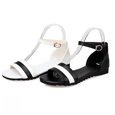 LvYuan Da donna Sandali Finta pelle PU (Poliuretano) Estate Autunno Footing Fibbia Piatto Bianco Nero Piatto White