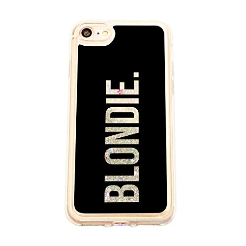 finoo | Iphone 6 / 6S Flüssige Liquid Silberne Glitzer Bling Bling Handy-Hülle | Rundum Silikon Schutz-hülle + Muster | Weicher TPU Bumper Case Cover | Pusteblume Blondie Black