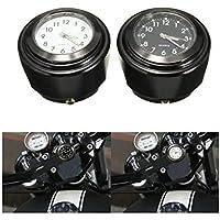 Viviance Motocicleta del Montaje del Manillar del Reloj De La Moto Reloj 7/8Inch 1 Pulgada Universal para Harley - Negro