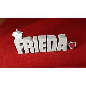 Beton, Steinguss Buchstaben 3D Deko Namen FRIEDA mit Stern und Herzklammer als Geschenk verpackt! Ein ausgefallenes…