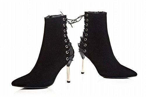 Mee Shoes Damen spitz Nubukleder Stiletto kurzschaft Reißverschluss Stiefel Schwarz