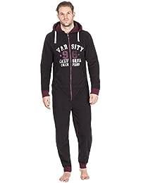 ONEZEE Mens Microfleece Logo Varsity Hooded Nightwear Sleepwear Zipped Xmas Gift