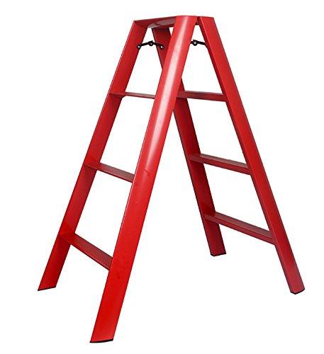 Leiter Four Step Hocker Aluminium Klappkinder 4-Stufen Stuhl Dual Use Portable Home Lager Gewicht 150kg (Farbe : Rot)