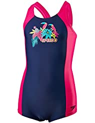 Speedo Girls 'Samba plumas Panel Bañador, niña, color Navy/Electric Pink/Jade, tamaño talla 32