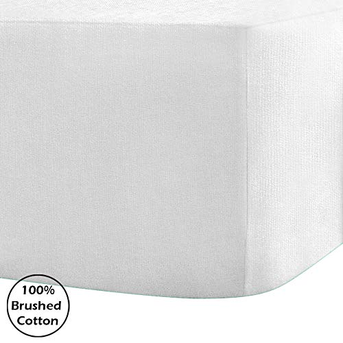Linen Zone 100% Brushed Cotton Flannelette Fitted Bed Sheet 40CM/16 Inch Extra Deep 14 Colours, White - Double