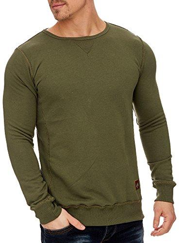 TAZZIO Herren Rundhals Sweatshirt Pullover Hoodie 16211 Khaki