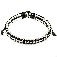 Paula & FRITZ bracelet en cuir tressé noir et blanc ficelle à carreaux en diagonale; Longueur: 190à 250mm; largeur: 9mm-Matériau: cuir; instructions pour matériaux: acier chirurgical ou n'est pas sans nickel en acier inoxydable, les d...