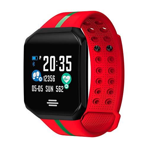 LJSHU Smart Watch Bluetooth Color Screen Information Push Caller ID Herzfrequenzrate Blutsaussäure-Überwachung Multi-Function Sports Armband,Red Screen Caller Id