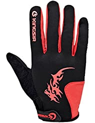Panegy - Deportes Guantes de Bicicleta Bici de Carretera con Dedo Completos Gel Shockproof Antideslizantes para Hombre Mujer - Negro Rojo - Talla XL