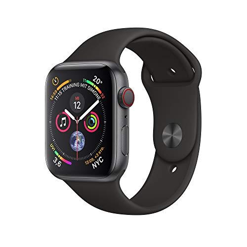AppleWatch Series4 (GPS + Cellular) 40mm Aluminiumgehäuse, SpaceGrau, mit Sportarmband, Schwarz