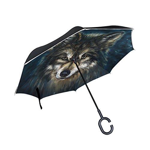 mydaily Double Layer seitenverkehrt Regenschirm Cars Rückseite Regenschirm Wolf Malerei winddicht UV Proof Reisen Outdoor Regenschirm