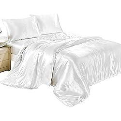 Oceanheart Juego de sábanas de Seda de 4 Piezas Satén Individual,Juego de sábanas de Color sólido con Funda de Almohada para Cabello y Piel (Blanco, 1.5M)