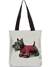 Snoogg Dog With Clothes On Designer Poly Canvas Fashion Printed Shopping Shoulder Lunch Tote Bag For Women