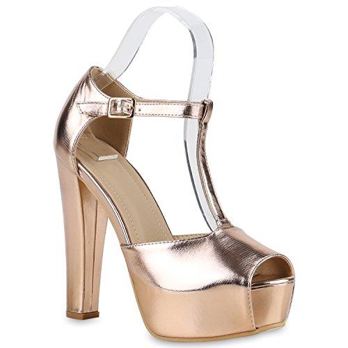 Damen Sandaletten Plateau Blockabsatz High Heels Schuhe Rose Gold Riemchen