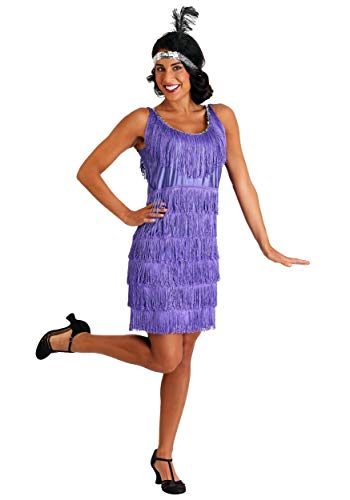 Plus Size Purple Fringe Flapper Dress (Fringe Flapper Kostüm)