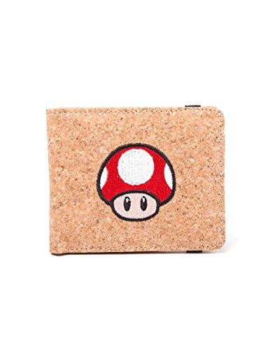 Super Mario monedero Super seta corcho cartera Nintendo 11x9x1cm marrón