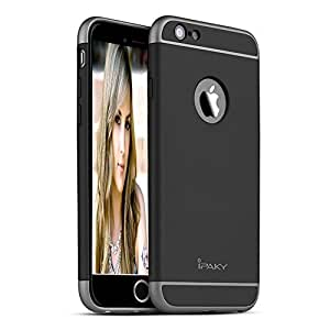 iPaky Luxury Hybrid Ultra Slim [Perfect Fit] Protective Case Hard PC Back Case for Apple iPhone 6 Plus/6S Plus (Black) (Not Compatible with Iphone 6/6S)